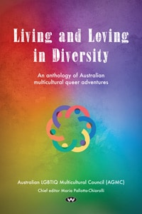 "A rainbow-coloured book with a rainbow logo that says ""Living and loving in diversity"""