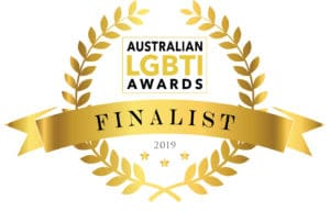 "Gold Laurel that says ""Australian LGBTI Awards Finalist"""